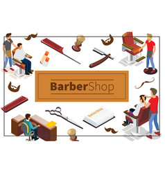 isometric barber shop colorful concept vector image