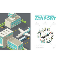 Isometric international airport composition vector