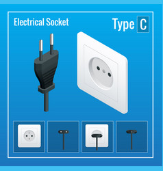 isometric switches and sockets set realistic vector image