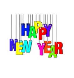 Letters happy new year hanging on a ropes vector