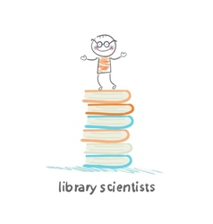 Library of scientists is on the books vector
