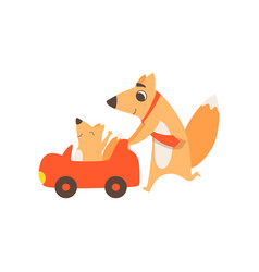 Loving father fox pushing toy car with her kid vector