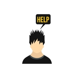 Man needs help icon in flat style vector image