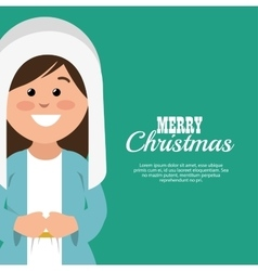 Merry christmas card with virgin mary smiling vector