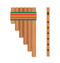 Mexican ethnic pan flute music instrument in flat vector