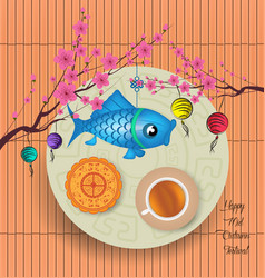 mid autumn lantern festival background with moon vector image