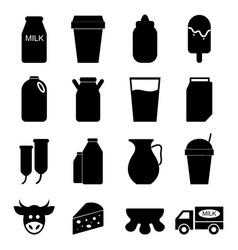 milk icons set on white background vector image