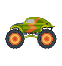 monster truck vehicle heavy retro car with large vector image