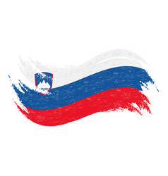 National flag of slovenia designed using brush vector