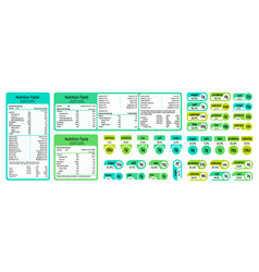 Nutrition table information table ingredients vector