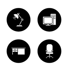 Office interior black icons set vector image