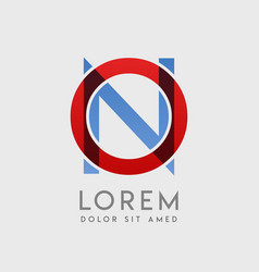 On logo letters with blue and red gradation vector
