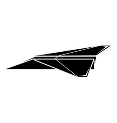 origami airplane icon simple black style vector image