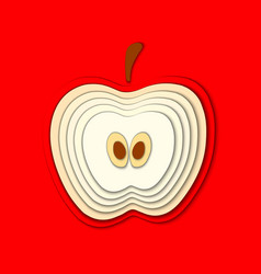 Paper cut red apple cut shapes 3d abstract paper vector