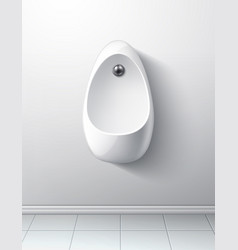 Realistic modern toilet room handing urinal vector