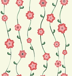 Red flowers pattern with stalk and leaves vector