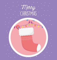 red sock lights snow merry christmas tag vector image