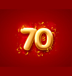 Sale 70 off ballon number on red background vector