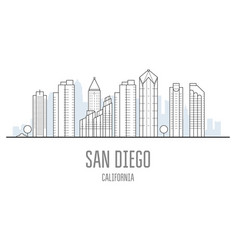 san diego city skyline - skyscrapers and vector image