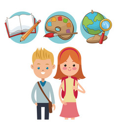 school kids ready activity education supplies vector image
