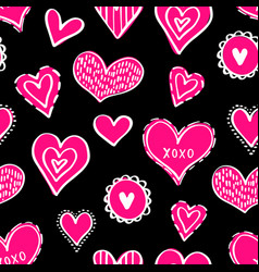 seamless hearts pattern-01 vector image