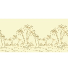 Seamless pattern island with palm contours vector image