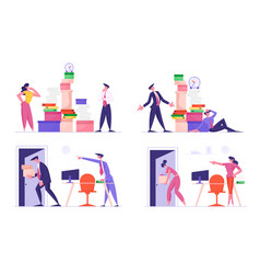 set businesspeople busy work and dismissal vector image