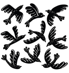 Set of cute black birds vinil stickers vector