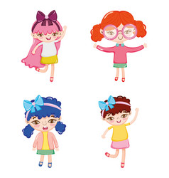 set of cute girl cartoons vector image