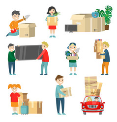 set of family relocation items detail instruction vector image