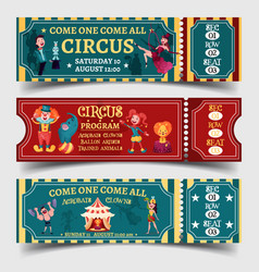 Set of isolated circus entertaining show tickets vector