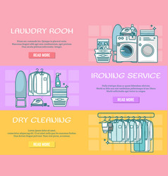 Set of laundry horizontal banners in linear vector