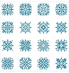 Set of pixel snowflakes for patterns vector