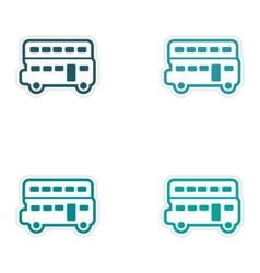 Set of stickers British double-decker bus on white vector