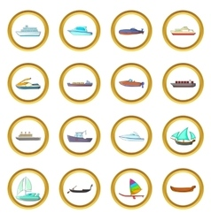 Ship and boat set cartoon style vector image