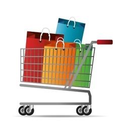 Shopping cart bag gift icon vector