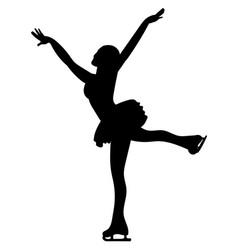 Silhouettes girls skaters figure skating black vector