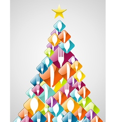 Silverware Christmas pine tree vector image