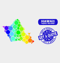spectral mosaic oahu island map and distress get a vector image