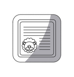 Sticker monochrome card with male lion head vector