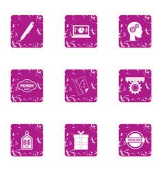 study of the marketing icons set grunge style vector image