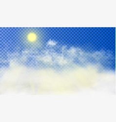 sun is shining through white cumulus clouds vector image