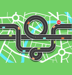 top view city map with cars on road and stop sign vector image