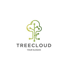 tree cloud logo vector image