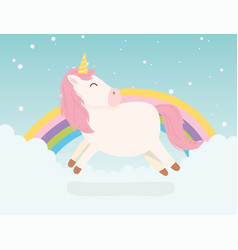 unicorn pink hair rainbow decoration magical vector image