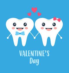 valentines card with cartoon loving teeth vector image