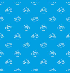 vintage bicycle pattern seamless blue vector image