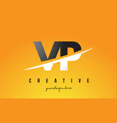 vp v p letter modern logo design with yellow vector image