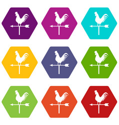 Weather vane with cock icon set color hexahedron vector