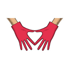 womens hands in red rubber gloves show heart vector image
